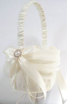 Ivory Flowergirl Basket with Tulle Sash Ivory Bows by JLWeddings, $65.50