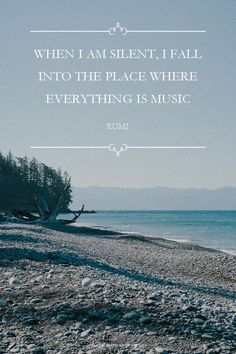 When I am silent, I fall into the place where everything is music - Rumi at…