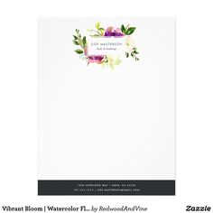 Vibrant Bloom | Watercolor Floral Logo Letterhead Elegant watercolor floral letterhead design displays your name and/or business name framed by lush flowers in violet purple and jasper green. Add your business contact information along the bottom in white on contrasting rich black.