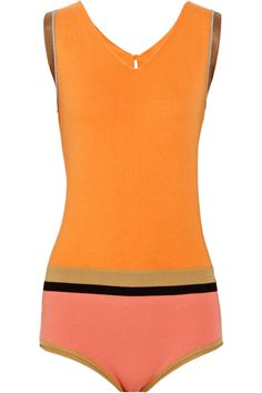 Color-blocked cotton-blend swimsuit by Marni