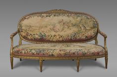 Sofa Upholstered in tapestries woven at the Gobelins tapestry manufactory, Paris, 1699 - present. Geography: Made in Paris, France, Europe Date: Tapestries 1760-80; frame 1923 Medium: Wool and silk; gilded wood frame