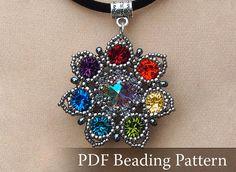 Seven-Colored Flower Pendant Beading pattern, Drow Queen Flower Pendant Pattern, Rainbow color pendant pattern, PDF