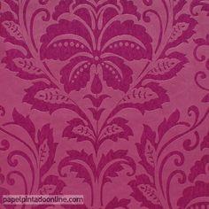 Papel Pintado Flock 4 2554-33, con fondo en rosa con textura de piel de melocotón y dibujo floral en rosa brillante.