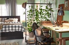 IKEA US - Furniture and Home Furnishings - - Let nature create two rooms out of one with the help of the PORTIS rolling clothes rack from IKEA and some beautiful plants. Source by IKEAUSA Room Inspiration, Interior Inspiration, Rolling Clothes Rack, Rolling Rack, Living Room Divider, Room With Plants, Plant Rooms, My New Room, Plant Decor
