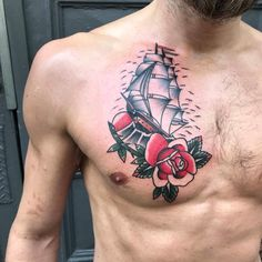 #oldschooltattoo #tattoos #sailortattoo #shiptattoo #chest tattoo