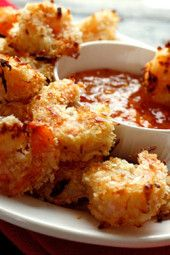 Golden baked coconut encrusted shrimp with a sweet and spicy apricot dipping sauce. Set these out on a platter in front of some hungry guests and I guarantee they will disappear!!