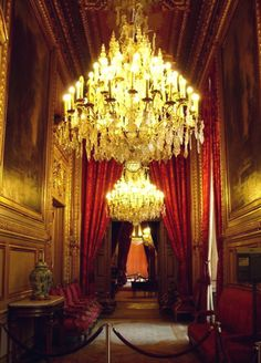 Beautiful Chandelier. Hall in Napolean's Apartments at the Louvre in Paris