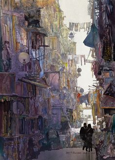 Alley Shadows. Watercolor Paintings Taking Glimpses into our Life. To see more art and information about John Salminen click the image.