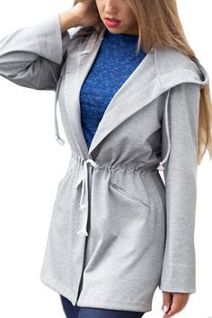 Grey Tie Waist Hooded Coat with Side Pocket from mobile - US$23.95 -YOINS