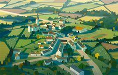 Birds eye view illustration of a small Welsh town Environment Concept Art, Environment Design, Fantasy Landscape, Landscape Art, Digital Illustration, Graphic Illustration, Building Illustration, Gig Poster, Mont Saint Michel