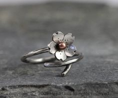 Cherry Blossom Branch Adjustable Ring in Silver by HapaGirls, $40.00