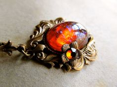 Mexican Fire Opal Necklace Dragon's Breath Necklace Opal Necklace Art Nouveau Necklace Brass Necklace- Lava