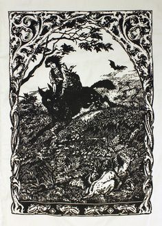 """Original image is from a woodcut entitled, """"Witch Riding Wolf"""" by Bernard Zuber (1926). Image size: 11"""" x 15"""" Printed on sturdy canvas Perfect back patch size!"""