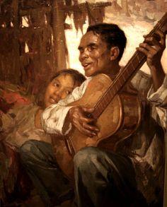 El Ciego (The Blind Man) Fernando Amorsolo, Philippines. Filipino Art, Filipino Culture, New Artists, Great Artists, Munier, Philippine Art, Philippines Culture, Music Artwork, Black Art