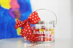 I have a thing for party favors. This idea could be used with other types of candy or cookies, sugar scrub, the possibilities are endless