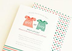 Gender Reveal Shower Invite by Pearenthetical Press