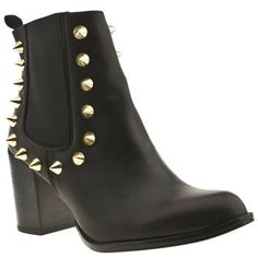 Women's Black & Gold Schuh Trash Studded Chelsea Ank at Schuh