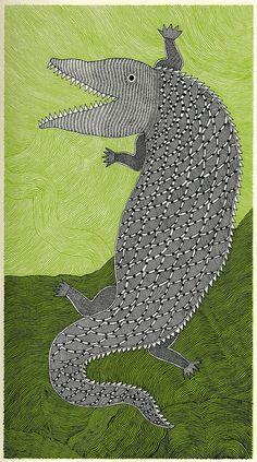 Crocodile by Rambharos Jha in 'Waterlife', published by Tara Books, Chennai, India via peacay's FLICKR