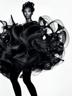 Fashion as Art - 3D dress with a sculptural shape blending softness & rigidity; dramatic fashion // Koji Tatsuno