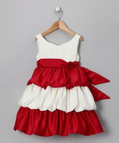 "Perfect Christmas dress for Elizabeth! ""Take a look at this Red Tier Dress - Infant, Toddler & Girls by Princess Faith on today! Little Girl Outfits, Little Girl Fashion, Toddler Fashion, Fashion Kids, Toddler Dress, Toddler Outfits, Kids Outfits, Infant Toddler, Toddler Girls"
