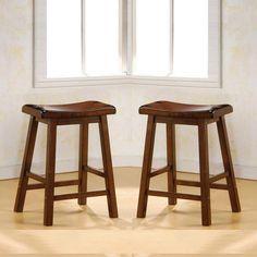 Set Of 2 Dark Walnut Solid Wood 24
