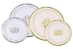 Elegant Monogrammed Premium Plastic Plates with Gold or Silver Edge