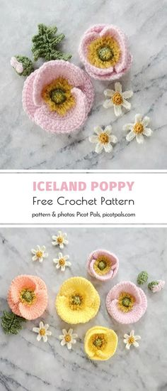 These tiny crochet flowers are truly special! Did you know that the Iceland poppies are not always red? You can see them in different shades of orange, yellow, and pink as well! Aren't these all the colors we girls love the most? So heart-warming! Crochet Crafts, Yarn Crafts, Easy Crochet, Crochet Hooks, Knit Crochet, Crochet Flower Patterns, Crochet Flowers, Crochet Poppy Pattern, Yarn Projects