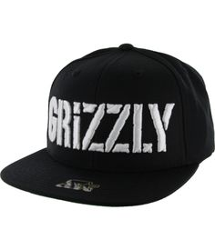 Grizzly Stamp Logo Starter Snapback - Black/White