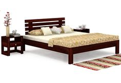 Afton Bed (Mahogany Finish) Wooden Double Bed, Double Beds, Double Bed With Storage, Wooden Street, Beds Online, Bed Storage, Stuff To Buy, Furniture, Home Decor
