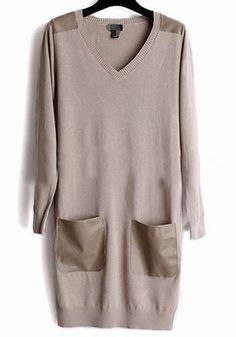 Khaki Patchwork Pockets V-neck Wrap Sweater $34