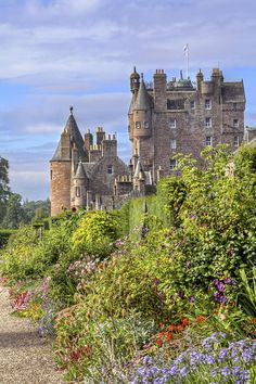 The beautiful garden of Galmis Castle in Scotland.