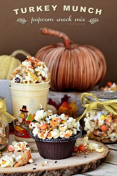 You Have Meals Poisoning More Normally Than You're Thinking That Turkey Munch - Fall Popcorn Snack Mix With Bugles, Reeses Pieces And Sprinkles All Drizzled In White Chocolate And Pumpkin Candy Melts. Formula At Popcorn Snacks, Popcorn Recipes, Snack Recipes, Fall Snack Mixes, Fall Snacks, Fall Recipes, Holiday Recipes, Thanksgiving Treats, Holiday Treats