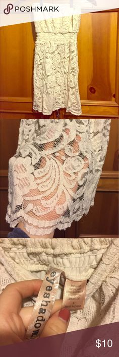 Strapless Lace Top! Cute top perfect for summer! Great condition! Sheer on bottom, lined around bust. Off White/ cream colored! Smoke free and pet free home! Eyeshadow Tops Crop Tops