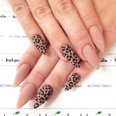 Nude Nails With Feline Accent ❤️ When it comes to season nails, you should i. - Season Nails to Have Fun - Latest Nail Art Trends Nails Polish, Gem Nails, Nude Nails, Coffin Nails, Nail Gems, Stiletto Nails, Hair And Nails, Leopard Nail Art, Leopard Print Nails