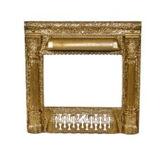 c. 1890's american antique victorian era metallic gold enameled ornamental cast iron interior residential fireplace surround with intact ash grate