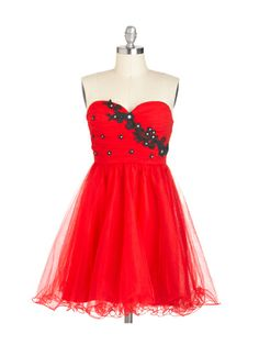 Red Dress with Ruched Bodice