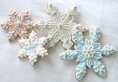 Blue and white Christmas snowflakes holiday cookies