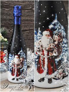 Новогоднее оформление шампанского Elisabell Glass Bottle Crafts, Wine Bottle Art, Painted Wine Bottles, Lighted Wine Bottles, Diy Bottle, Christmas Decoupage, Christmas Art, Christmas Decorations, Christmas Ornaments