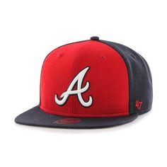 Atlanta Braves Sure Shot Accent Captain Navy 47 Brand Adjustable Hat d54a79fb7