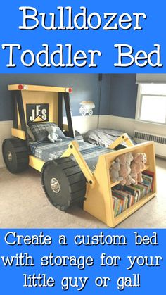 Construction Truck Bed PLANS (in digital format) - perfect for a toddler construction themed room! Help your little boy or girl transition from the crib into a bed he or she will actually enjoy sleeping in. They'll love it! #bulldozerbed #diybed #aff #toddlerbed