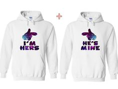 WELCOME TO PAISLEY`S PICKS    Im Hers, Hes Mine Couple Matching Sweaters.      Gildan - Heavy Blend™ Crewneck Sweatshirt - 18000      Size : S-5XL