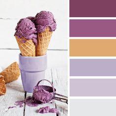 100 Color Inspiration Schemes : Lilac + Gold + Grape Color Palette