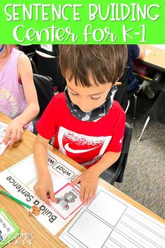 Students have fun building sentences in kindergarten and 1st grade with this literacy center. Your sweeties will love the funny sentences they create!