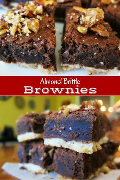 These Almond Brittle Brownies are chocolatey and not overly sweet – just perfect.  The shortbread crust is a nice change from the usual brownie.