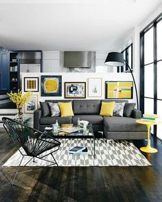 Beautiful Livingroom With Yellow Accents.