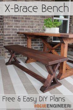 DIY X-Brace Bench | Free Plans | rogueengineer.com #DIYseating #diningroomDIYplans