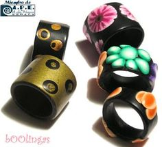 Polymer Clay Rings by bOOlingas, via Flickr