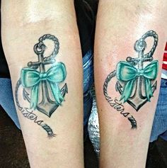 Traditional anchor tattoo for sisters. Pink bow for me and Turquoise bow for the little sis! Traditional anchor tattoo for sisters. Pink bow for me and Turquoise bow for the little sis! Sister Anchor Tattoos, Matching Sister Tattoos, Sibling Tattoos, Bff Tattoos, Best Friend Tattoos, Body Art Tattoos, Tattoo Anchor, Tattoo Sister, Tattoo Art