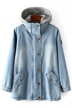 Denim Coat and Gray Hooded Waistcoat Twinset