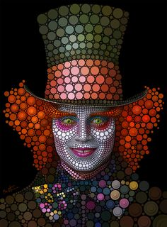 "The ""Mad Hatter"" - Johnny Depp by Ben Heine ~ Part of his series ""Digital Circlism"" in which he made portraits of celebrities by placing thousands of circles one by one on a black background. Almost each circle has a different color and a different size. Time consuming for him, a delightful innovative form of art for us to enjoy.  http://www.benheine.com/"